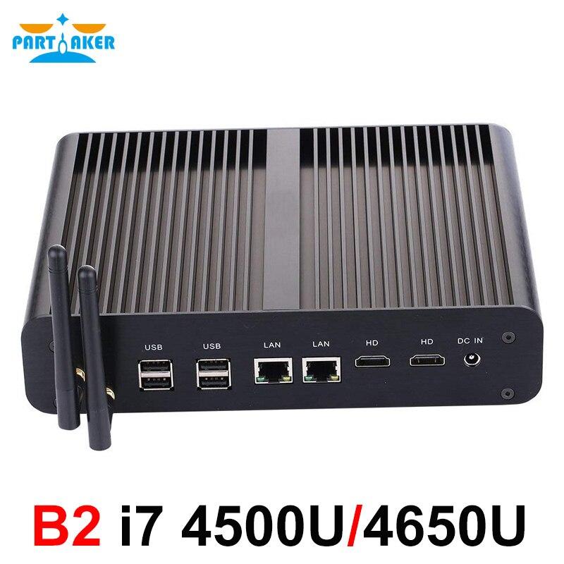 Parpreneur B2 sans ventilateur Mini PC Windows Linux Intel Core i7 5500u i7 5550u Barebone Max 16G RAM 512G SSD 1 to HDD WiFi HDMI