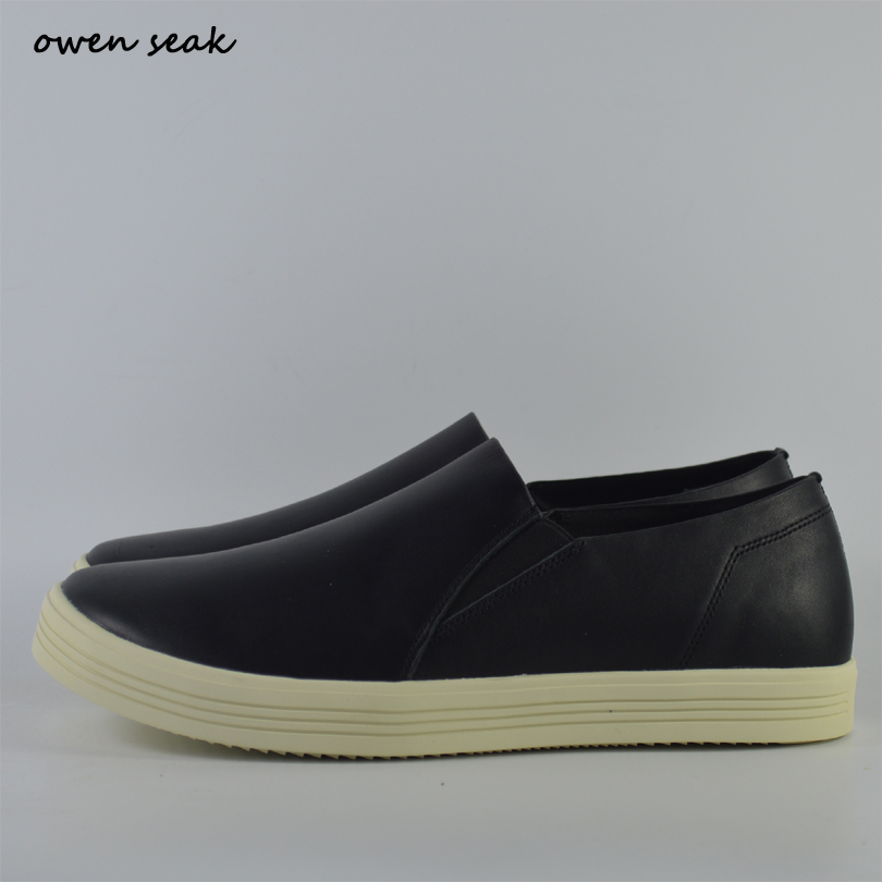 Owen Seak Men Loafers Shoes Summer Luxury Trainers Genuine Leather Boots Casual Brand Flats Shoes Black