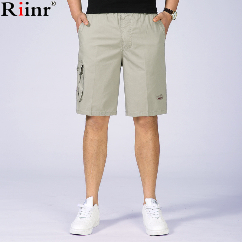 Riinr 2018 New Arrival Mens Shorts Summer High Quality Casual Solid Color Cargo Shorts 95% Cotton Brand Clothing Short Masculino