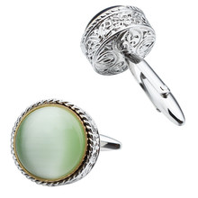 2016 New Arrival Brand Cuff Button Rhodium Plated Cat's Eye Yellow White Blue Linked Cuff Links