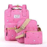 新しいプレッピースタイル3ピース/セット女性プリントキャンバスバックパック高品質スクールバッグリュックサックファッション旅行バッグ