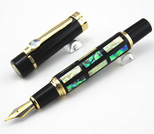 With Real Sea Shell Luxury Fountain Pen Jinhao 650 Black 18kgp Medium Nib Great Wall(China)