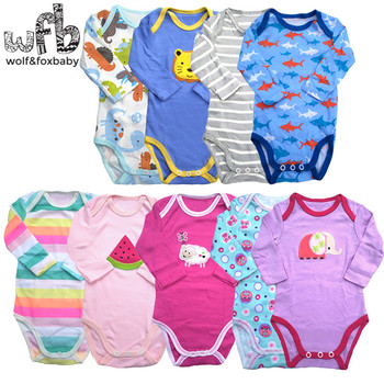 5pieces/lot long-Sleeved Baby Infant cartoon bodysuits for boys girls jumpsuits Clothing bodysuits veselyy malysh 42132k goluboy baby clothing bodie overalls for kids girls and boys