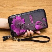 цены на PACGOTH Vintage Long Wallet Women PU Leather Hand Painted Colorful Flowers Coin Purse Card Holder Clutch Elegant Lady Money Bag  в интернет-магазинах