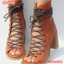 Hollowed out Lace up font b Women b font Sandal Boots Open Toe Square High Heels