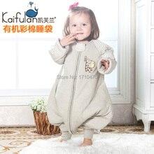 Ребенка спальный мешок новорожденных хлопок мешки сна 100% младенческой органического хлопка спальный мешок детей с ног коляска мешок сна
