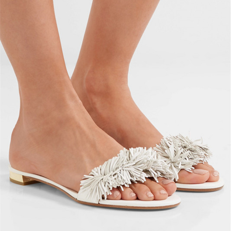 2018 Summer Slides Casual Fringe Slippers Shoes Women Cozy Flats Designer Woman Outside Slippers Tassel Shoes Sandals Zapatos