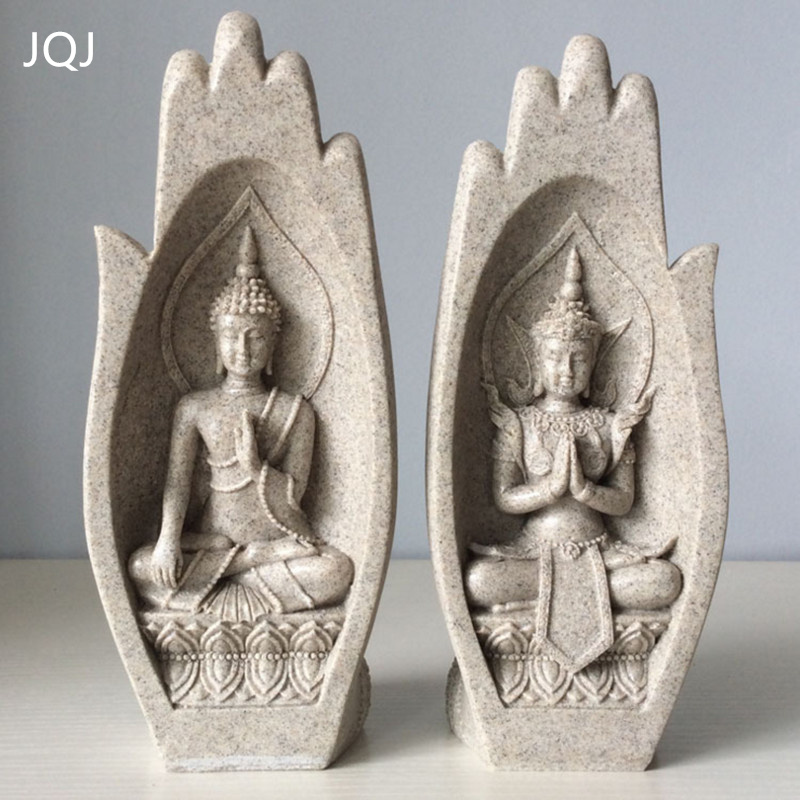 JQJ 2 Pcs Petit Bouddha Statue Moine Figurine Tathagata Inde Yoga Mandala Mains Sculptures Décoration de La Maison Accessoires Ornements