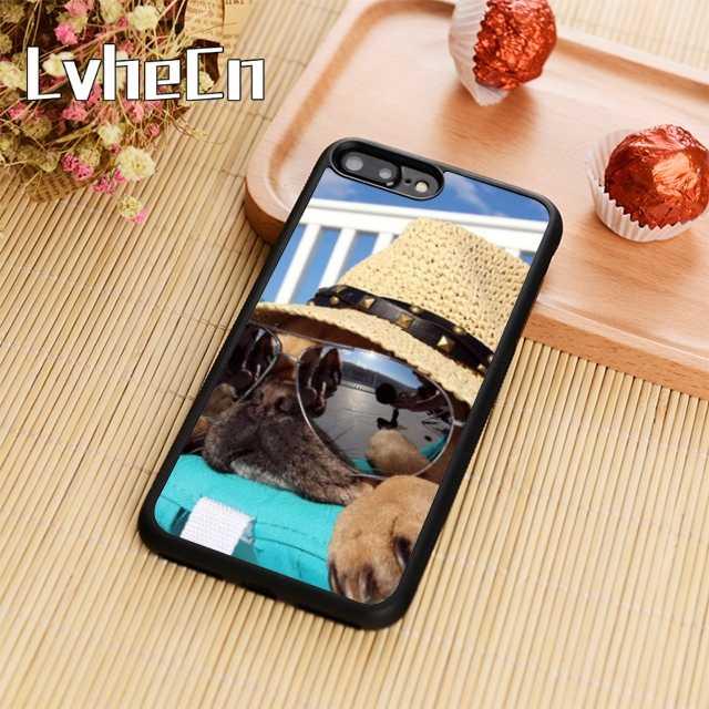 LvheCn mops okulary przeciwsłoneczne kapelusz telefon skrzynki pokrywa dla iPhone 4 5 6 6s 7 8 plus X XR XS max 11 Pro Samsung Galaxy S7edge S8 S9 S10