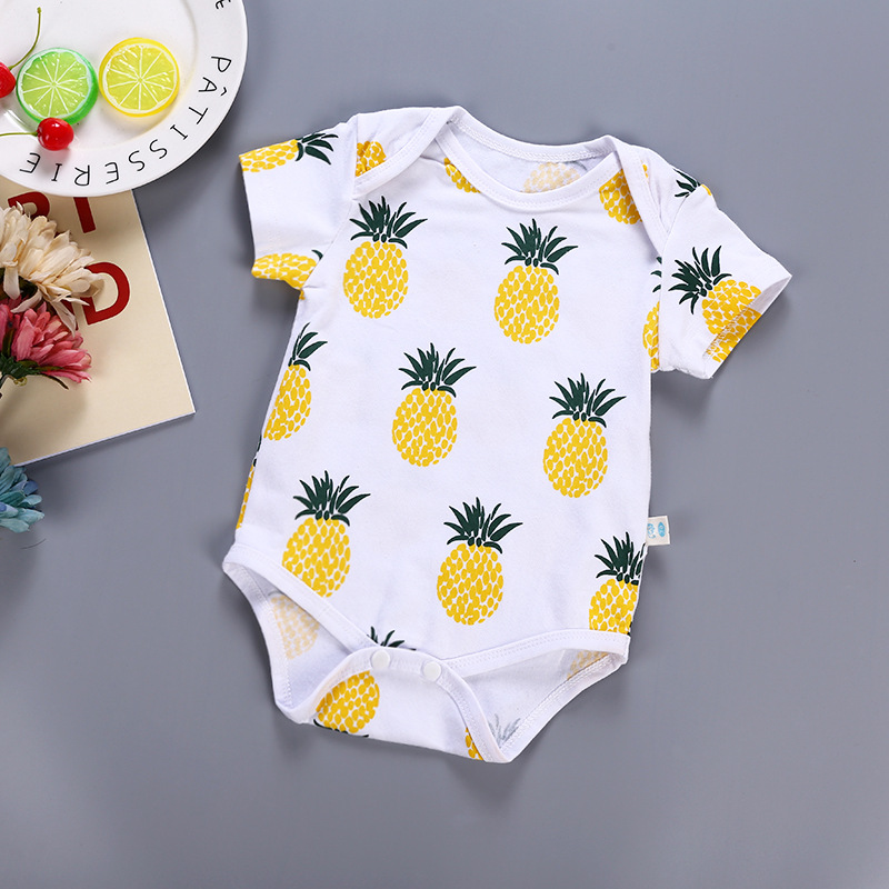 Pineapple baby fruit   romper   short section cotton short-sleeved infant newborn baby clothes soft summer bebe roupas children reta