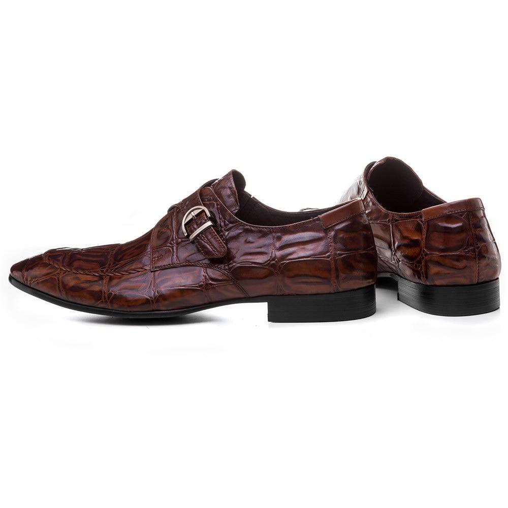 Крокодил зрна смеђе тан / црне менс - Мушке ципеле - Фотографија 3