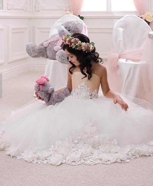 2019 In Stock Cheap Price   flower     girl     dresses   for weddings Real Sample Romantic Tulle   girl  -  dresses     girls   pageant   dresses