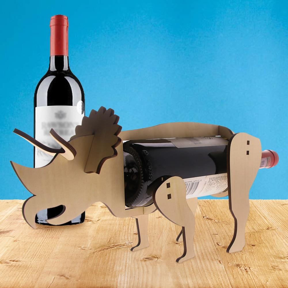 1Piece Wooden Wine Stand Dinosaur Triceratops Wine Bottle Holder ...