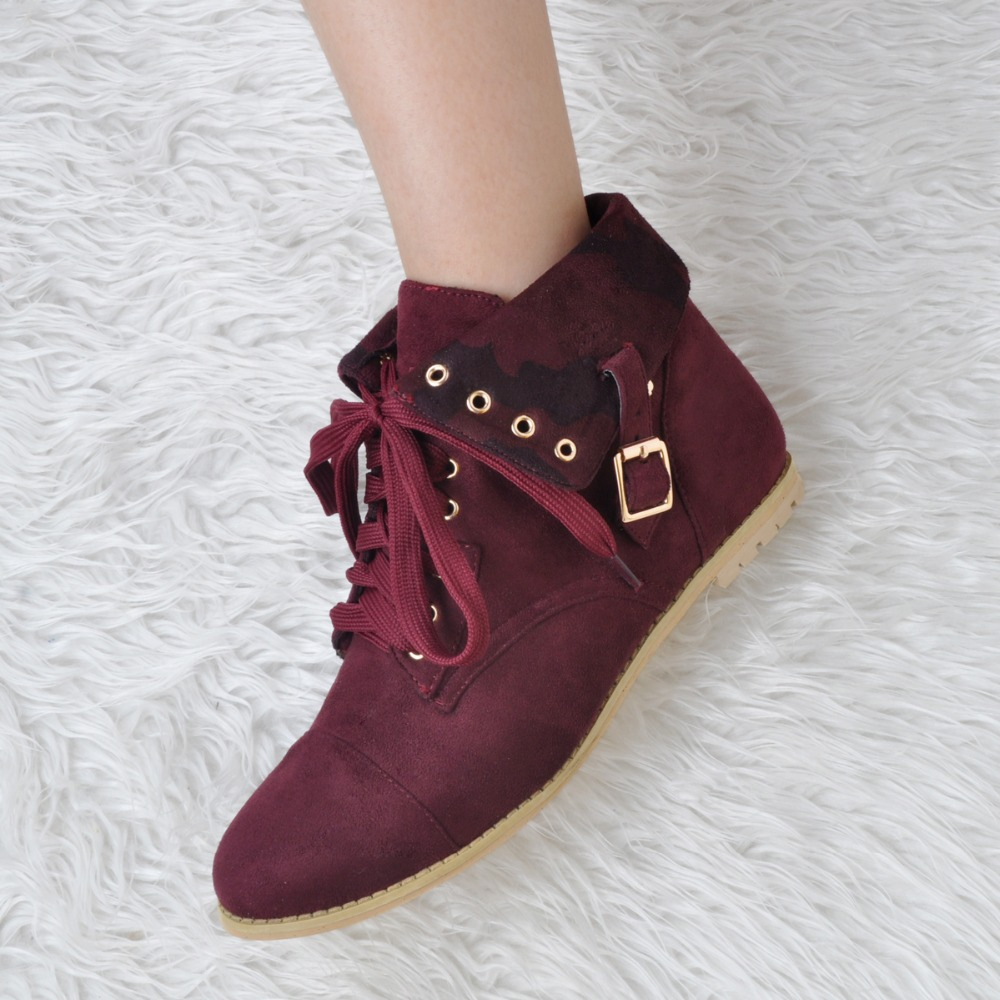 Round Toe Fashion Turned-over Edge Shoes Spring Autumn Cross-tied Women Flats Lace Up Flock Upper Buckle Decorated Women Shoes