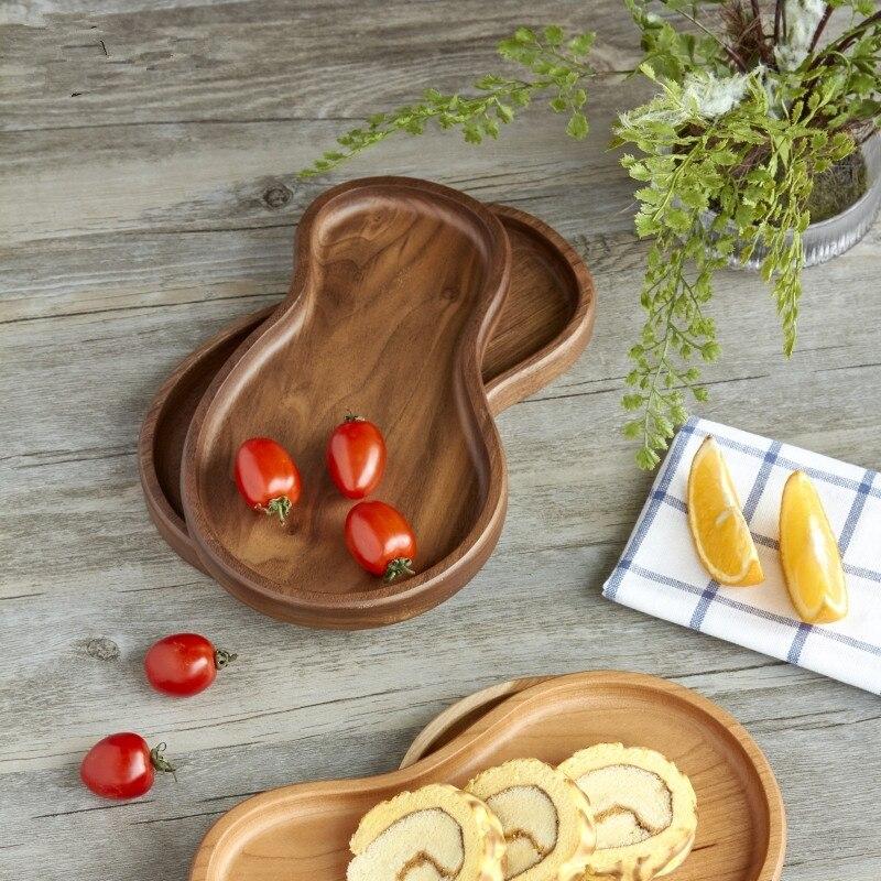 Noyer plat plat naturel bois entier plateaux de rangement pour Fruits/bonbons personnalité créative décor de Table assiettes alimentaires huile naturelle
