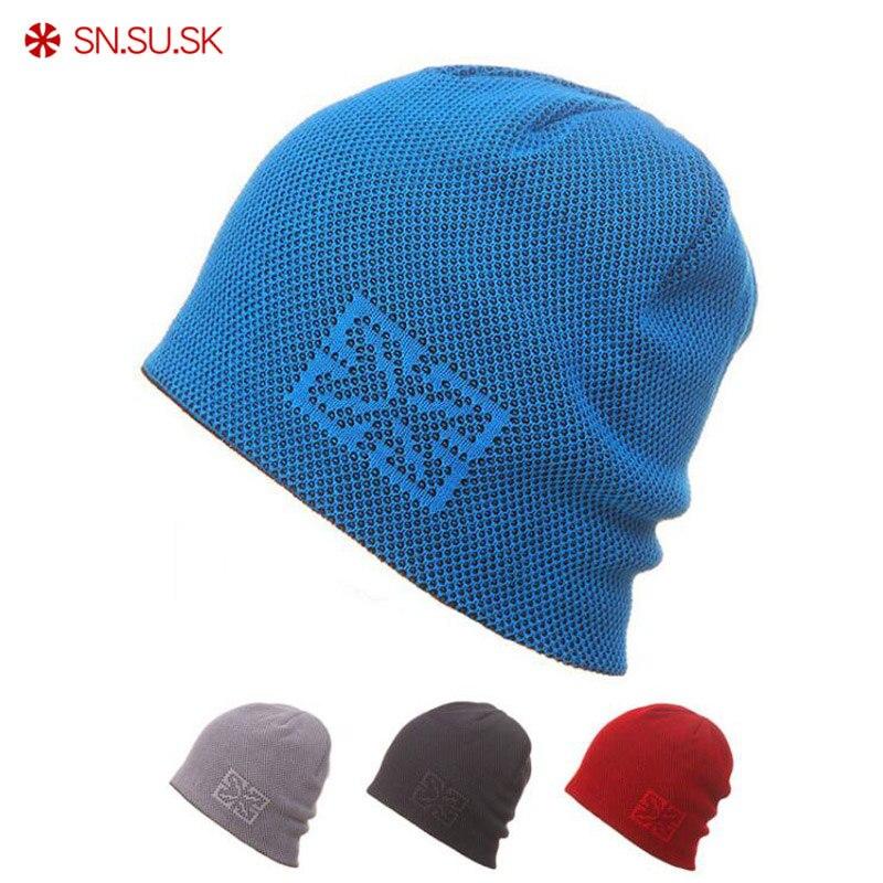 SN.SU.SK Men Women Warm Winter Hats Knitting Skating Skull Caps For Woman Turtleneck Beanies Ski Hat Snowboard Cap 045285