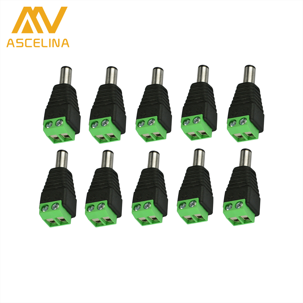 10pcs Male Connector Plugs 5.5x2.1mm For 5050 / 3528 LED Strip sigle color DC Powers Supply AC Adapter Plug Cable Jack 100 pairs female male connector plugs 5 5x2 1mm for 5050 3528 led strip sigle color dc power supply ac adapter plug cable jack