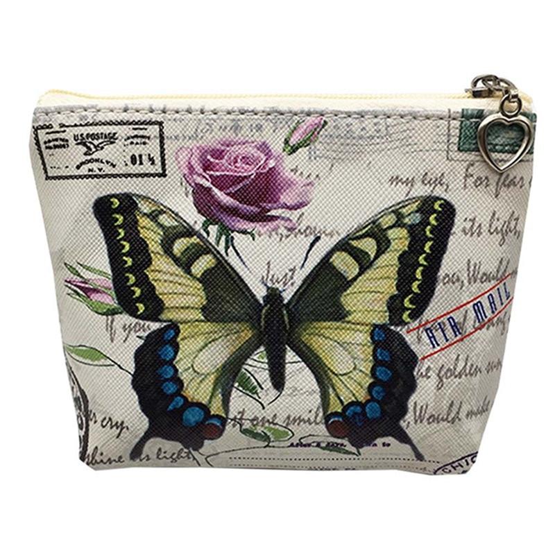 Butterfly Print Girls Coin Purse Mini Key Card Bag
