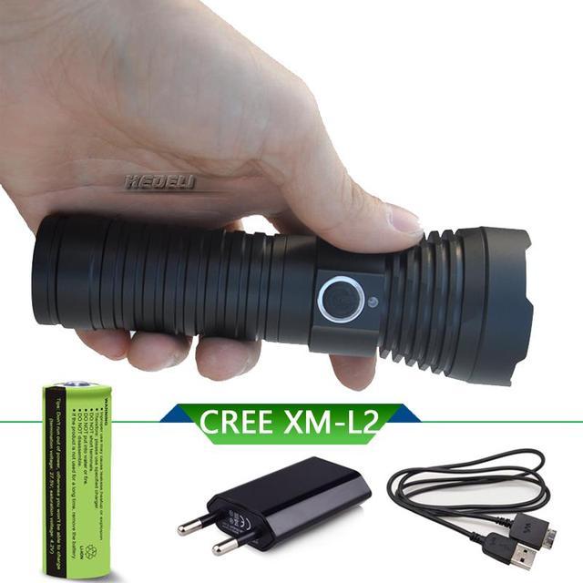 26650 USB зарядка светодиодный яркий фонарь t6 l2 Высокая аккумуляторная заряжающаяся батарея факел Лампа темная душа высокого качества водонеп...