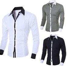 Мужская однотонная комбинированная рубашка с длинным рукавом, модная индивидуальная Мужская рубашка с отворотом, Повседневная тонкая рубашка с длинным рукавом, Топ