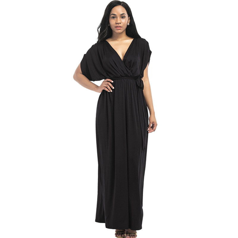 2017 large size womens new sexy pure color V-neck loose dress summer fashion casual long dresses M-4XL