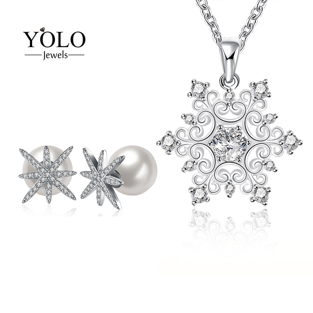 Romantic Snowflake Pattern Jewelry Set for Women Silver Color AAA Cubic Zirconia Necklace Stud Earrings Pearl Earring Love GiftRomantic Snowflake Pattern Jewelry Set for Women Silver Color AAA Cubic Zirconia Necklace Stud Earrings Pearl Earring Love Gift