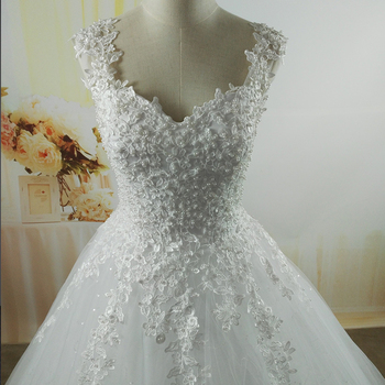 ZJ9076 Ball Gowns Spaghetti Straps White Ivory Tulle Wedding Dresses 2019 with Pearls Bridal Dress Marriage Customer Made Size 3