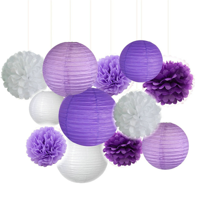 6b54cc294b0 Pack of 12 Lavender Dark purple White Paper Crafts Tissue Paper Lanterns  Paper Pom Poms Birthday Wedding Party Decoration