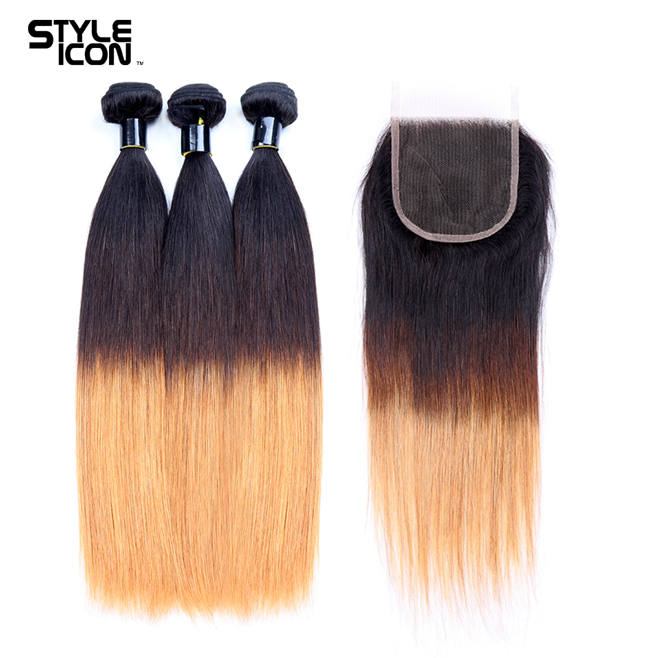 Styleicon Pre-Colored Brazilian Straight Ombre Human Hair Bundles With Closure T1B/4/27 3 Bundles With Lace Closure Free Part