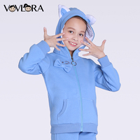 Kids Winter Jackets Baby Girls Fleece Coat Warm Hoodie Zipper Long Sleeve Knitted Pockets Cat Ears