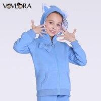 Kids Winter Jackets Baby Girls Fleece Coat Warm Hoodie Zipper Long Sleeve Knitted Pockets Cat Ears
