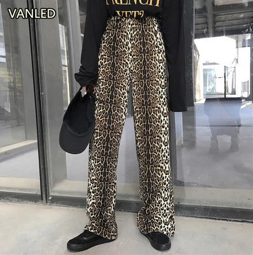 Sexy Leopard Casual   Pants   Women's Thin Split Casual Elastic Waist   Wide     Legged     Pants   Women's Bottoms