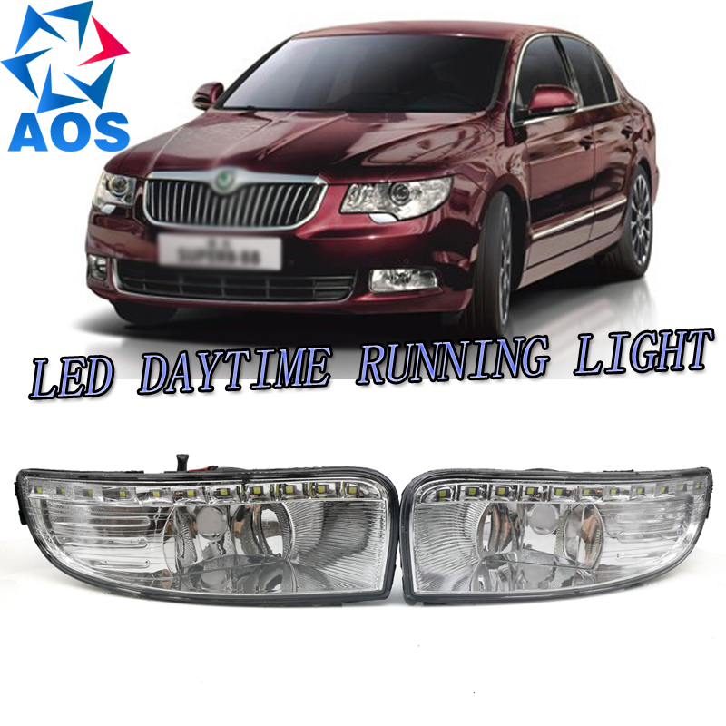 2PCs/set car styling AUTO LED DRL Daylight Car Daytime Running light set For Skoda Octavia A5 2010 2011 2012 2013 multicolored led auto wheels light 2 set