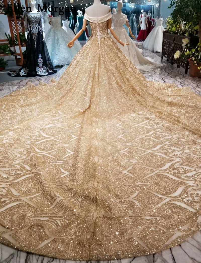 ae17bd62e6 Glitter Shiny Gold Ball Gowns Wedding Dresses 2019 Custom Made Real Photos  Off Shoulder Long Train Lace up Puffy Bridal Gowns