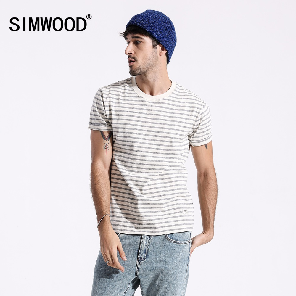 SIMWOOD 2019 Brand Summer Tops Original Cotton Short Sleeve Stripe   T     Shirts   Men Casual   T  -  shirt   Simple Streetwear Tees 180449