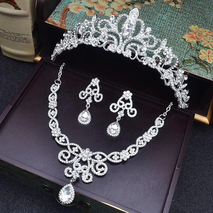 Nupcial Da Borboleta Flor Waterdrop Cor Prata Diamante de Cristal de Noiva 3 pcs Set Colar Brincos Conjunto De Jóias de Casamento Da Tiara Da Coroa (4)