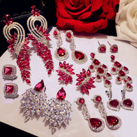 Luxury Rose Red Stone Long Drop Earrings Water Drop And Flower Shape Hot Pink Cubic Zirconia