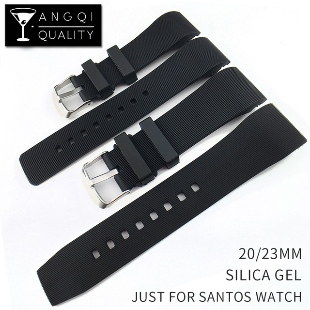 Silicone Watch Band For Cartier Santos 100 Strap Watchband Bracelet Rubber Sport Replacement Waterproof 20mm