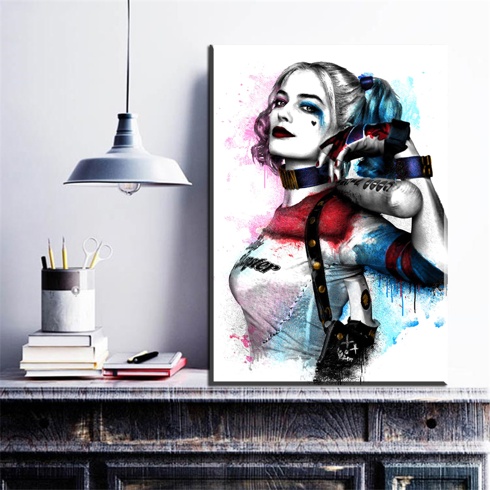 Us 8 27 7 Off Zz1095 Wall Modern Movie Batman Joker Harley Quinn Canvas Painting Art Print Poster Picture Wall Paintings Home Decoration In Painting