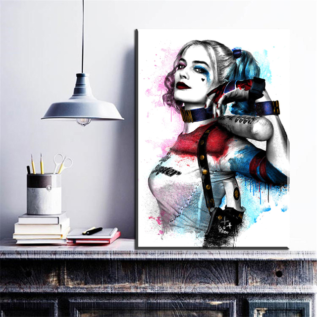 Zz1095 Wall Modern Movie Batman Joker Harley Quinn Canvas