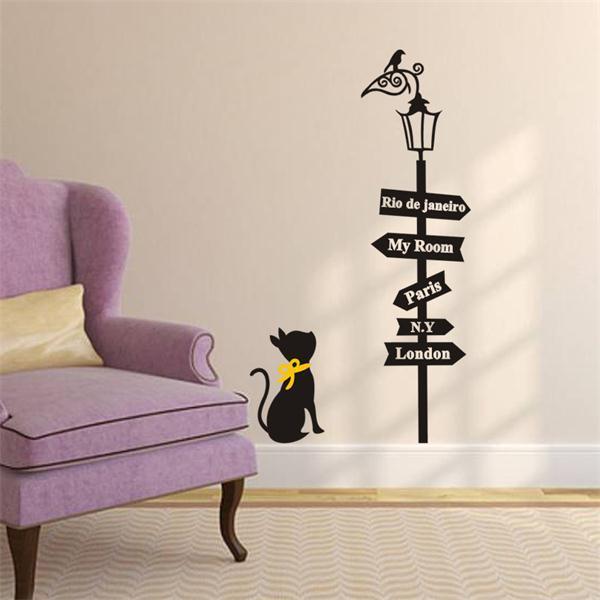 comprar precioso gato bajo la farola de pared de vinilo pegatinas diy decoracin del hogar pegatinas de dibujos animados para nios