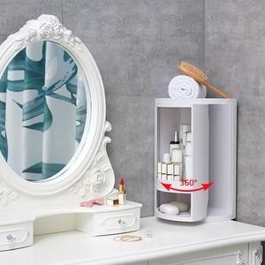 Image 5 - 욕실 360 회전 삼각형 선반 주방 변기 코너 선반 욕실 스토리지 랙 캐비닛 다층 Storag