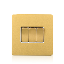 Cognag screwless stainless steel panel 3 Gang 1 Way UK wall light switch home use