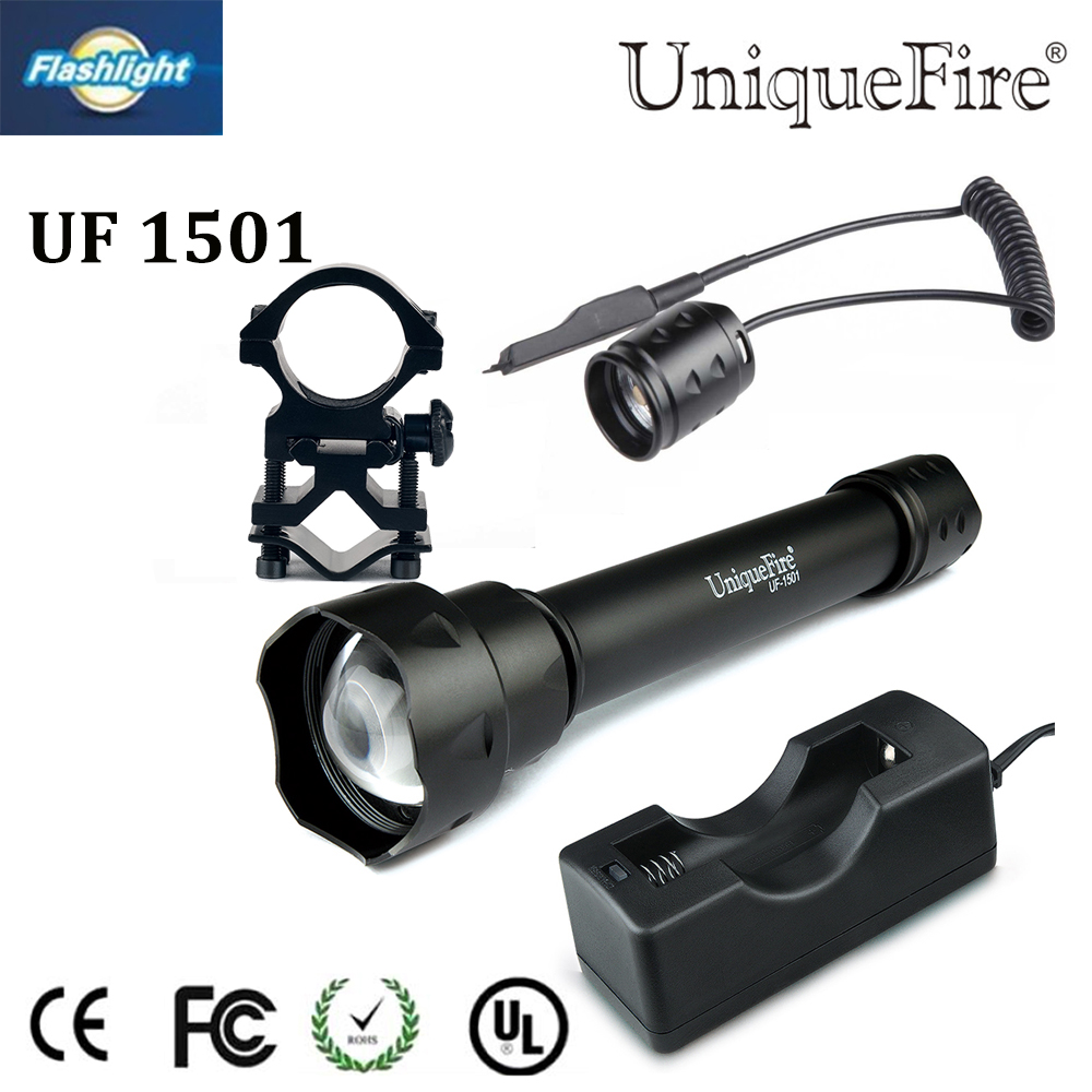 Hot sale Uniquefire 1501 IR 940nm LED Flashlight Zoomable 3Modes Waterproof Torch+Charger+Tactical Remote+Scope Mount free ship waterproof flashlight uniquefire infrared night vision 1503 ir 940nm zoomable led flashlight charger tactical remote scope mount