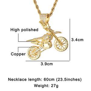 Image 4 - HIP Hop pełna AAA Iced Out Bling CZ Cubic cyrkon miedź fajne motocyklowe wisiorki i naszyjniki dla mężczyzn biżuteria hurtowych