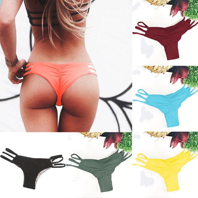 Women Brazilian Cheeky Bikini Bottom Thong