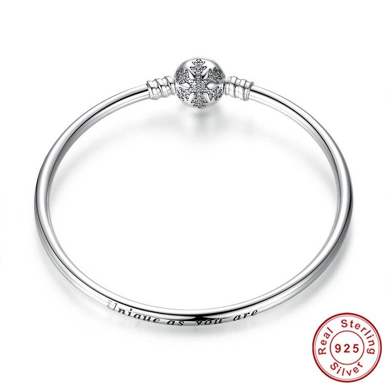 Prix pour 100% 925 Sterling Argent Graver Flocon De Neige Fermoir Unique comme vous sont Serpent Chaîne Bracelet & Bracelet DIY Charme Bijoux