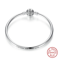 100% 925 Sterling Silver Engrave Snowflake Clasp Unique as you are Snake Chain Bracelet & Bangle DIY Charm Jewelry