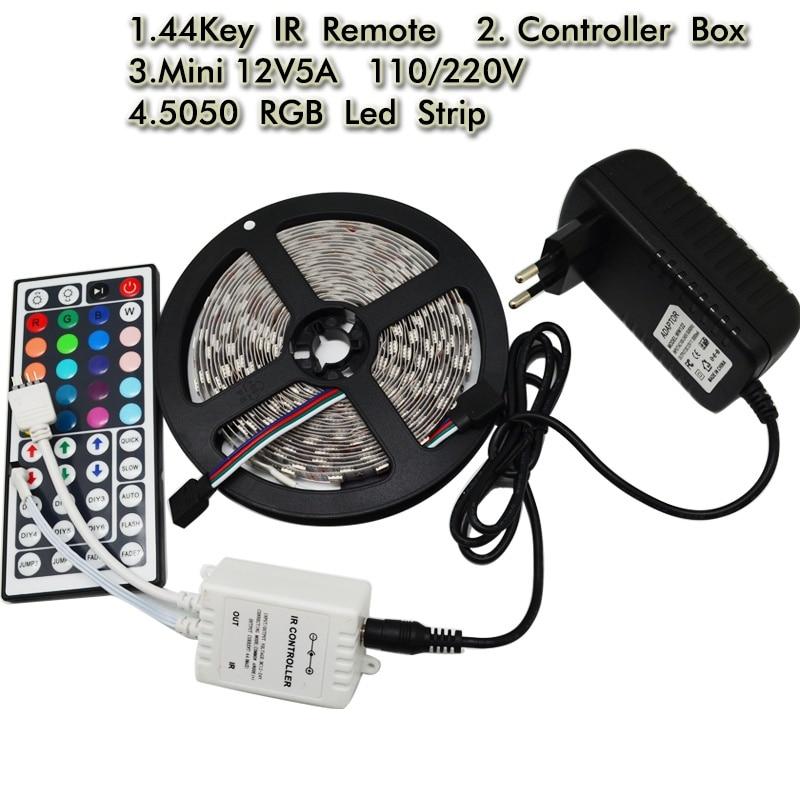 5050 Led Flexible Strip Light 5M 300led Diode Tape+44Key RGB IR Remote Controller + 5A Power Adapter EU US Plug Home Decor Lamp 10m 5m 3528 5050 rgb led strip light non waterproof led light 10m flexible rgb diode led tape set remote control power adapter