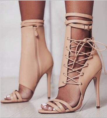 Sexy femmes sandales minces talons hauts à lacets gladiateur Bandage croix liée mode été fête Femme chaussure partie Zapato cheville sangle